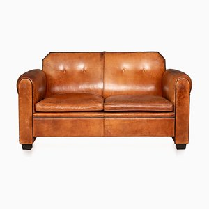 Vintage Dutch 2-Seater Tan Leather Sofa, 1980s