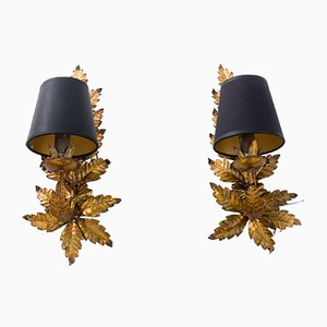 Mid-Century Floral Sconces in the Style of Maison Jansen, Set of 2