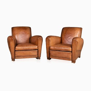 Vintage Leather Club Chairs, 1930s, Set of 2