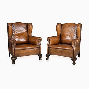 Antique Dutch Leather Wing Back Armchairs, 1900s, Set of 2