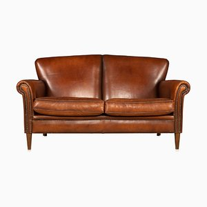 Vintage Dutch 2-Seater Leather Sofa