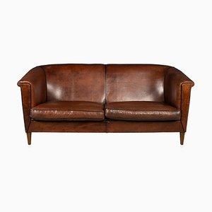 Niederländisches Vintage 2/3-Sitzer Leder Sofa