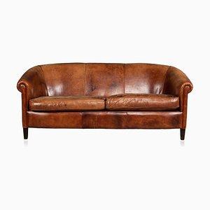 Mid-Century Dutch 2/3-Seater Sheepskin Leather Sofa, 1960s
