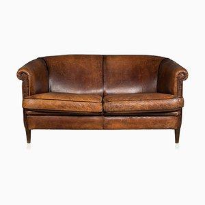 Vintage Dutch 2-Seater Sheepskin Leather Sofa, 1970s