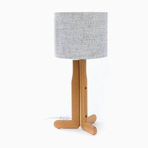 Dreibein Tischlampe aus Holz & Messing, 1980er