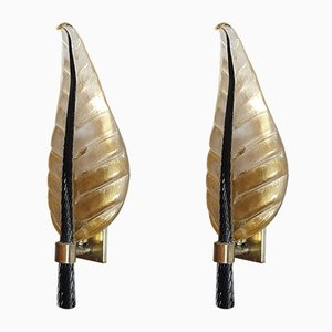 Large Mid-Century Murano Glass Sconces by Ercole Barovier for Barovier & Toso, 1970s, Set of 2