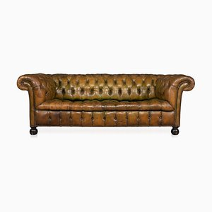 Vintage Chesterfield Leather Sofa with Button Down Seat, 1920s