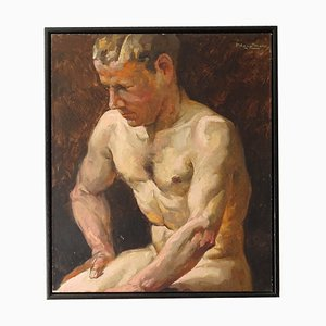 Art Deco Male Nude Study Oil Painting by Paul Adolf Hauptmann, 1940s