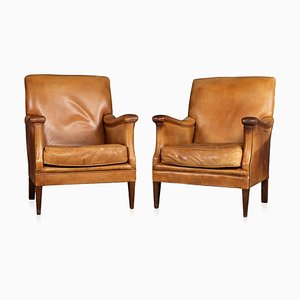 Vintage Dutch Sheepskin Leather Club Chairs from Bendic International, 1980s, Set of 2
