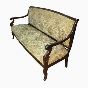 Antikes italienisches Napoleon III Mahagoni Sofa