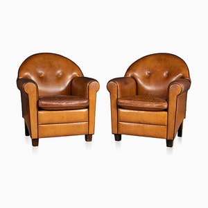 Vintage Dutch Sheepskin Leather Club Chairs, 1980s, Set of 2
