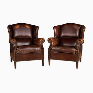 Vintage Dutch Leather Wingback Armchairs, 1970s, Set of 2