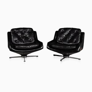 Vintage Italian Black Leather Lounge Chairs, 1970s, Set of 2