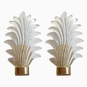 Mid-Century Clear Murano Glass and Brass Sconces, 1970s, Set of 2