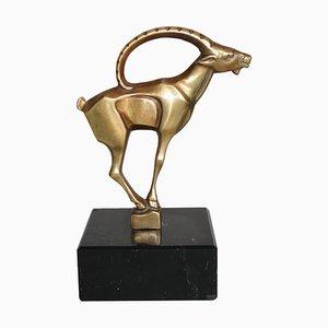 Niederländische Art Deco Bronze Figur eines Steinbocks von Johannes Bosma, 1920er