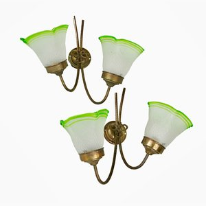 Brass and Glass Sconces, 1940s, Set of 2