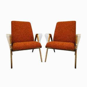 Mid-Century Orange Armchairs with Plastic Armrests from Tatra Nabytok, 1960s, Set of 2