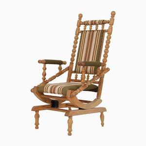 Danish Solid Oak and Woolen Rocking Chair, 1940s