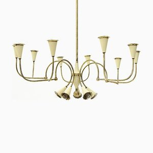 Italian Modern 14-Light Brass Chandelier, 1950s