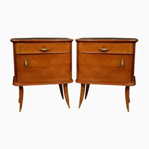 Italian Walnut, Maple, and Beech Nightstands, 1950s, Set of 2
