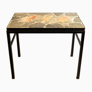 Modernist Black Metal and Stone Side Table, 1950s