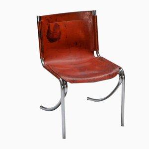 Modell Jot Esszimmerstühle aus Leder & Chrom von Giotto Stoppino für Acerbis, 1970er, 4er Set