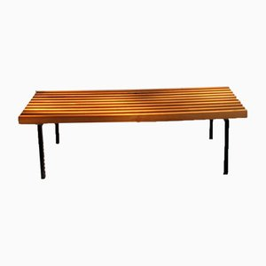 Vintage Cherry Wood and Lacquered Metal Bench, 1990s