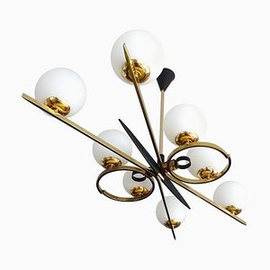 Large Mid-Century French Chandelier from Arlus in the Style of Stilnovo, 1960s