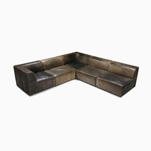 Vintage Patinated Leather Modular Corner Sofa from Durlet, 1980s