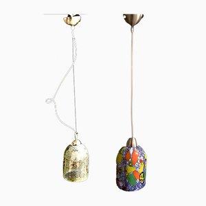 Vintage Murano Glas Deckenlampen von Venini, 2er Set