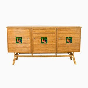 Rattan Buffet with Tiles by Vallauris, 1950s