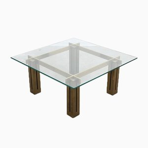 Large Italian Brassed Square Coffee Table from Skipper, 1970s