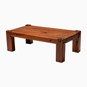 Mid-Century Rustic Solid Oak Coffee Table, 1960s