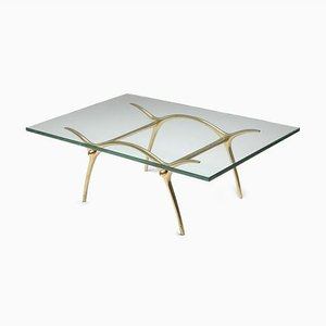 Vintage Hollywood Regency Bronze Coffee Table from Kouloufi, 1970s