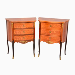 Antique French Inlaid Kingwood and Rosewood Nightstands, 1930s, Set of 2