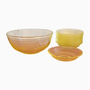 Heilbronn Bowl Set by Wilhelm Wagenfeld for Vereinigte Lausitzer Glaswerke, 1930s, Set of 12
