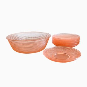 Greifswald Bowl Set by Wilhelm Wagenfeld for Vereinigte Lausitzer Glaswerke, 1930s, Set of 7