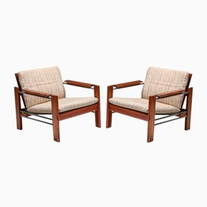 Walnut and Chrome Easy Chairs by Rob Parry for Gelderland, 1970s, Set of 2