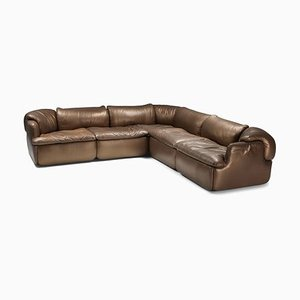 Bronze and Leather Confidential Sectional Sofa by Alberto Roselli, 1970s
