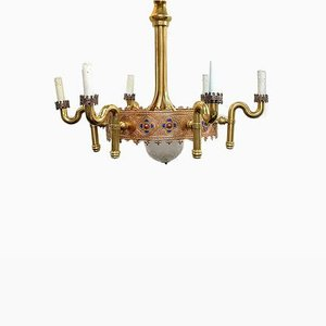 Gold Plated and Enamel Chandelier by Jozsef Engelsz, 1970s
