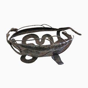 Hand Hammered Iron Fall of Eve Fruit Bowl, 1970s