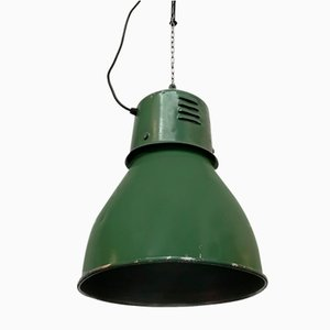 Vintage Industrial Italian Green Metal Ceiling Lamp, 1960s