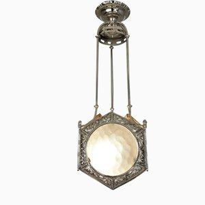 Vernickelte Art Deco Deckenlampe aus Bronze, 1920er