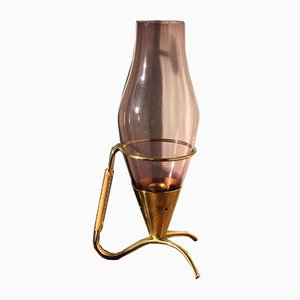 Pink Candleholder in Brass by Gunnar Ander for Ystad Metall