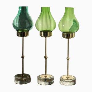 Kerzenhalter aus Messing von Gunnar Ander für Ystad Metall, 1960er, 3er Set