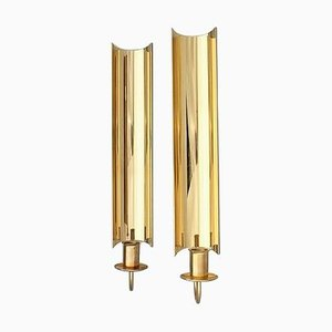 Brass Wall Candleholders Reflex by Pierre Forsell for Skultuna, 1970s, Set of 2