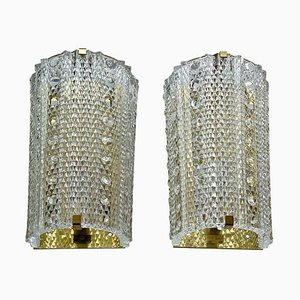 Large Crystal Glass and Brass Medea Sconces from Orrefors, 1960s, Set of 2