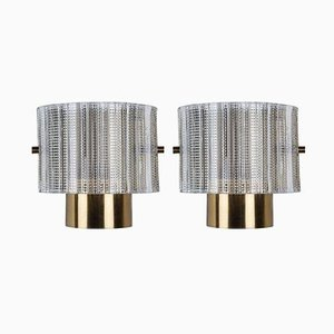 Wall Sconces in Textured Glass by Carl Fagerlund for Orrefors, 1960s, Set of 2