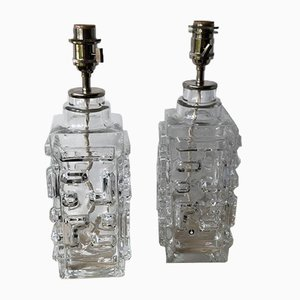 Swedish Modern Clear Glass Table Lamps from Pukeberg, 1960s, Set of 2