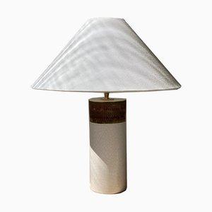 Keramik Tischlampe in Weiß & Braun von Bitossi, 1960er